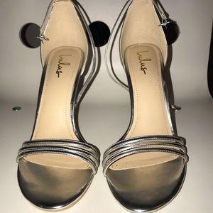 Lulus Silver Heels (4.25 inch heel) Never Worn